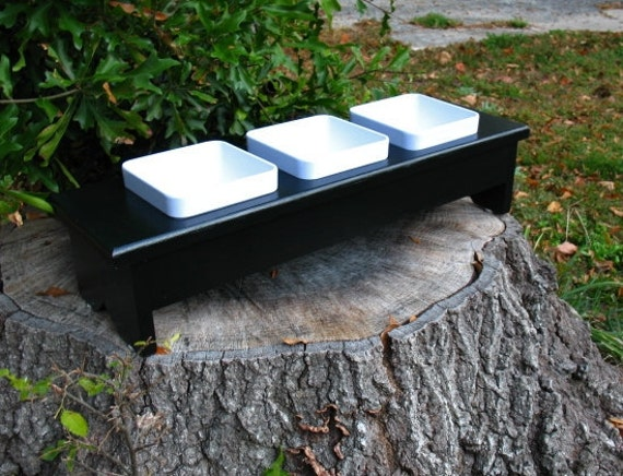 Elevated Cat Or Dog Feeder White Square By