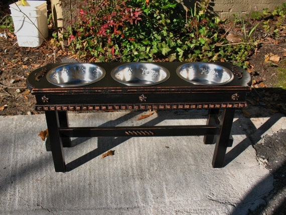 Elevated  Pet Feeder For Large Dogs - Black Shabby Chic 3 Two Quart Paw Print Bowls Made To Order
