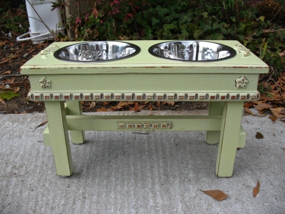 Elevated Pet Feeder Shabby Chic Lime Juice Green with Copper Underlay For Large Dogs with Paw Print Bowls Made to Order