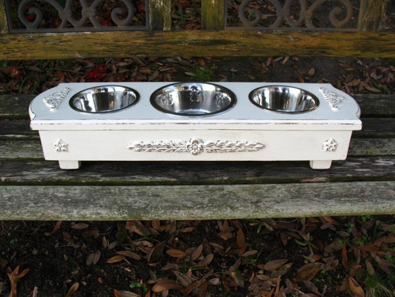 Featured in Tori Spelling's Blog, Cottage Chic Pet Feeder  Antique White Three Bowls, 1 One Qt & 2 One Pt Bowls Made To Order