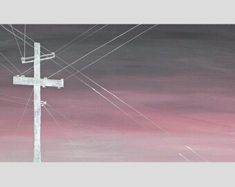 Silver Powerlines Against Pink Sky