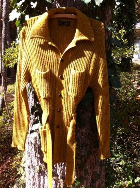 "Puritan ""Citation Club"" Golden Yellow Wool Cardigan"