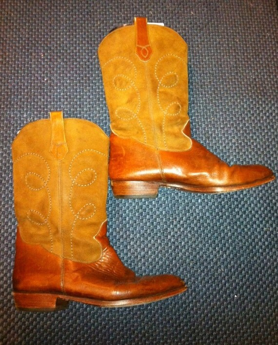 Vintage Bally Leather and Suede Caramel Cowboy Boots in 8 8.5 or Women's 9 9.5