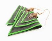 Recycled leather earrings - green and black triangles
