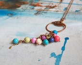 Pastel howlite necklace - copper wire wrapped jewelry