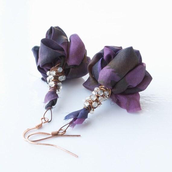 Items Similar To Elegant Fabric Earrings