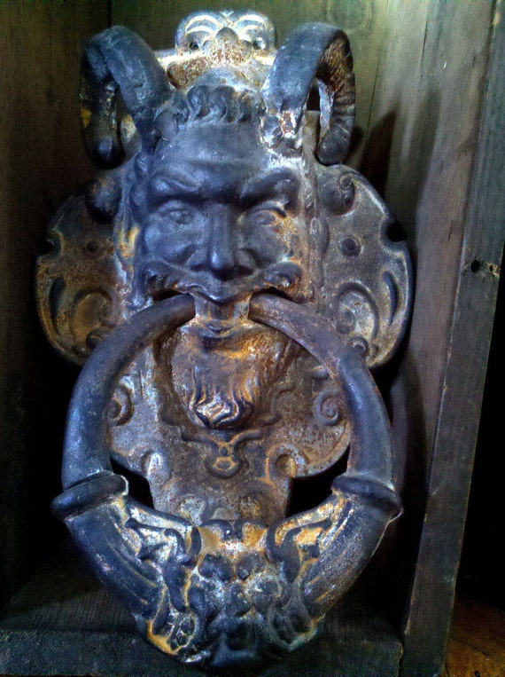 Original Gothic Cast Iron Door Knocker Horned Demon By