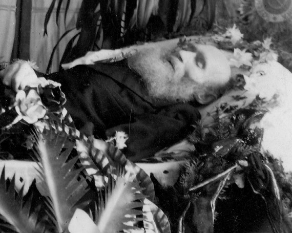 RESERVED for HANNAH Post Mortem Photograph Man with Beard Surrounded by Flowers