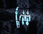 Turquoise Dangle Earrings and Matching Bracelet