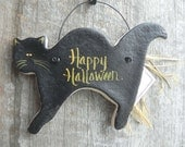 Halloween Black Cat Salt Dough Ornament