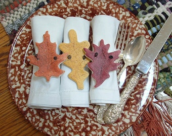 Autumn Leaves Thanksgiving Napkin Rings - Fall Decor Set of 10 Salt Dough Ornaments