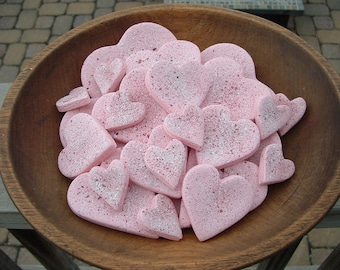Valentine's Day Assorted Pink Hearts Bowl Fillers Set of 10 Salt Dough Heart Ornaments