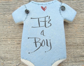 Baby Onesie Salt Dough Ornament / Baby Shower / Party Favor Gift Salt Dough Ornament