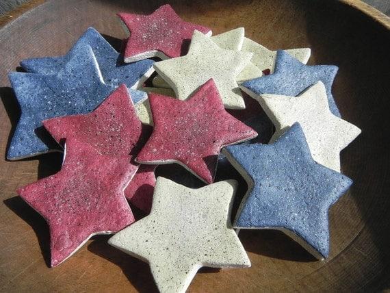 RESERVE LISTING for T.Rabel Primitive Red White and Blue Stars Bowlfiller Salt Dough Ornaments Set of 12