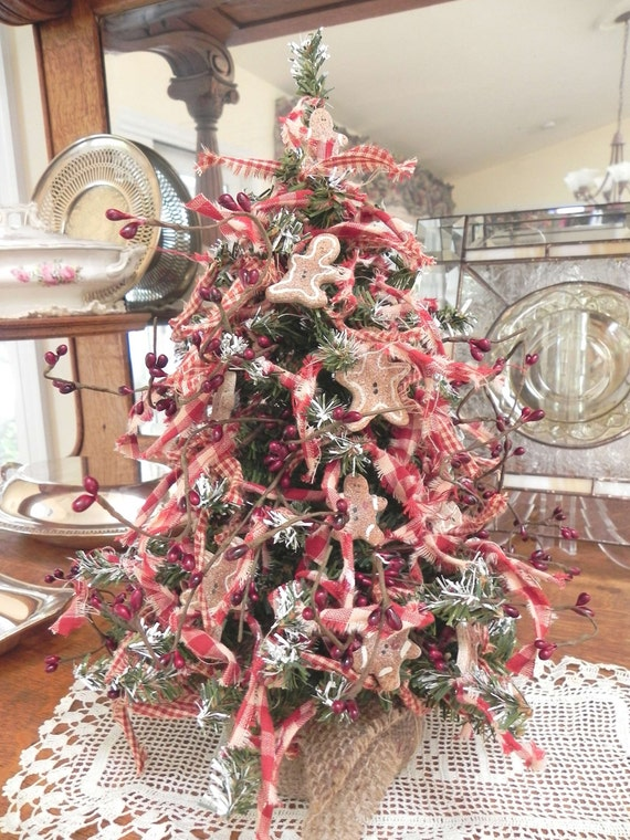 """Country Red Christmas Tree 15"""" Gingerbread Kitchen Table or Desk Tree"""