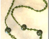 Hippie, Macrame, Necklace, Vintage,, Handmade, Green And Turquoise Color Beads, Goddess - EVE