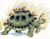 Art Print of Tortoise and Mice 8.5x11