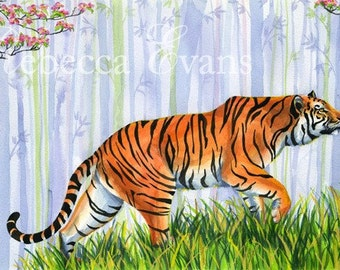 Tiger in the Bamboo - Art Print of Tiger and Child 13x19