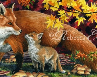 Autumn Foxes - Art Print of Red Fox and Cub 13x19