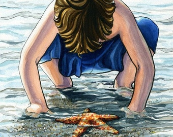 Illustration Art Print of Child and Starfish in the Ocean 13x19