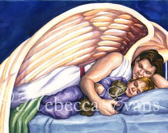 Illustration Art Print of Angel Comforting Child 8.5x11