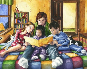 Illustration Art Print of Mother Reading to Children at Bedtime 13x19