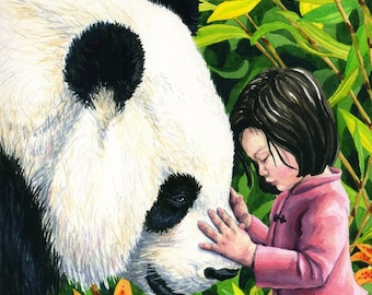 Illustration Art Print of Giant Panda and Girl 8.5x11