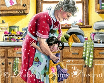 Illustration Art Print of Little Girl and Grandma 8.5x11