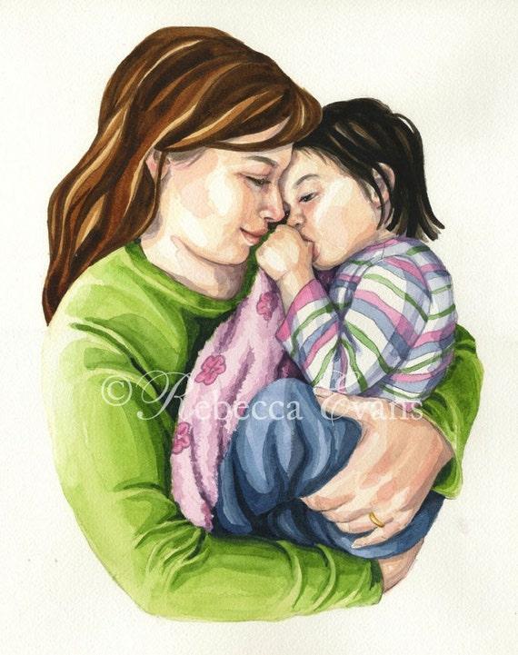 Illustration Art Print of Mother Rocking Child 13x19