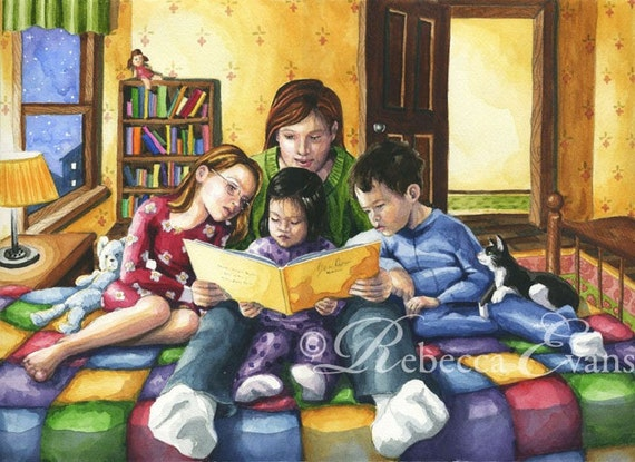 Illustration Art Print of Mother Reading to Children at Bedtime 13x19
