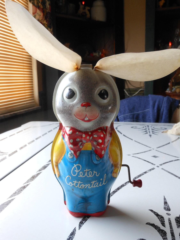 Vintage Tin Toys : Vintage tin toy rabbit peter cottontail by mattel