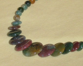 "Indian Agate Coin Necklace 17"" with earrings"