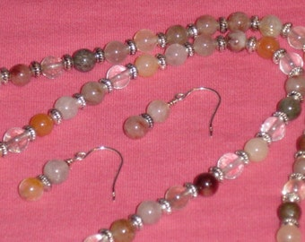 """Rutilated Quartz Necklace 26"""" with earrings"""