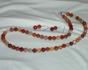 "Madagascar Faceted Agate Necklace 20"" with earrings"