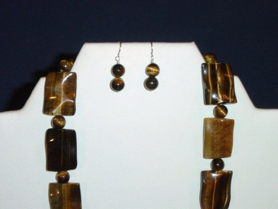 """Funky Tigers Eye Necklace 25"""" with Sterling Silver Lobser Clasp and Earrings on Sterling Silver Ear Wires"""