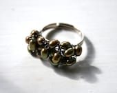 Green Freshwater Pearl Cluster Ring