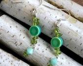 Peridot and Blue-Green Ceramic Earrings