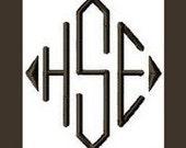 INSTANT DOWNLOAD -- Machine Embroidery Font Diamond -- Monogram Alphabet Design  - 3 Sizes