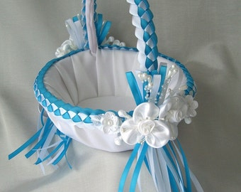 Flower Girl Basket, Wedding,  Turquoise, White, Bridal, Basket, Pearls, Satin Flowers, Wedding Basket, Custom Made to your Colors
