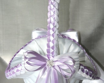 Wedding Flower Girl Basket, Lavender, White or Custom Made to your Colors Satin Bows and Filigree Swarovski Flowers with Crystals
