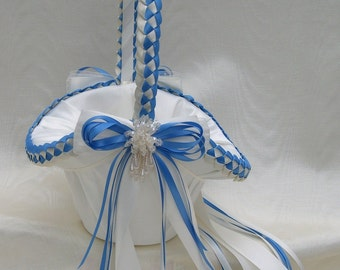 Wedding Flower Girl Basket with Satin Bows and Dangling Pearls, Custom Colors