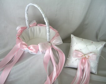 Flower Girl Basket & Ring Bearer Pillow Set with Bows, Pearls, Swarovski Crystals, Wedding Accessories Custom Made