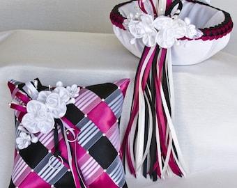 Flower Girl Basket & Ring Bearer Pillow Set, Satin Flowers, Flower Basket, Ring Pillow, Swarovski Crystals Pearls - Custom Made