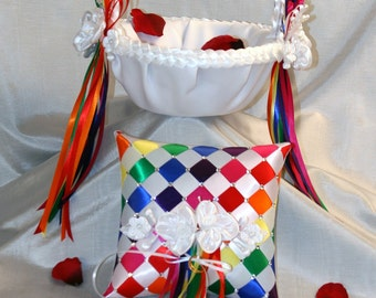 Flower Girl Basket & Ring Bearer Pillow Set Custom Made to your Colors with Flowers and Pearls, Wedding Accessories