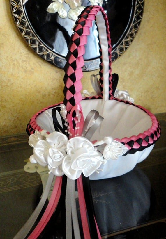 Flower Girl Basket, Pearls, Wedding, Bridal, Hot Pink, Black, White, Ivory, Satin Flowers, Custom Made to your Colors