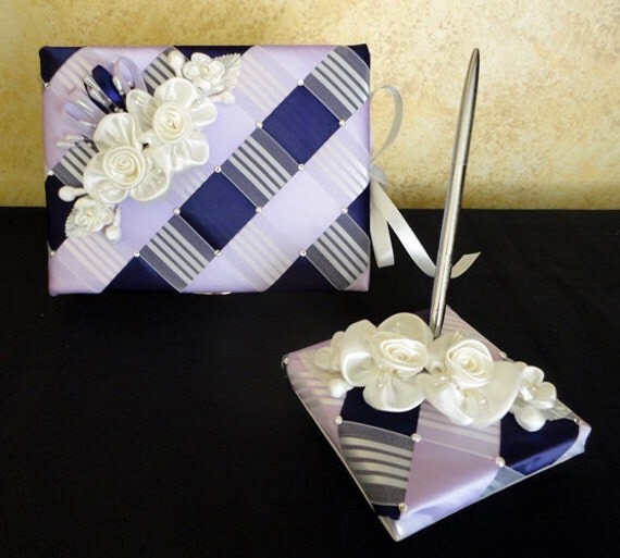 Wedding Guest Book and Pen Set with Satin Flowers - Custom Made to Order