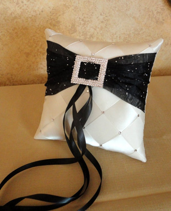 Wedding Ring Bearer Pillow, Ivory & Black or Custom Made to your colors with Swarovski Crystals
