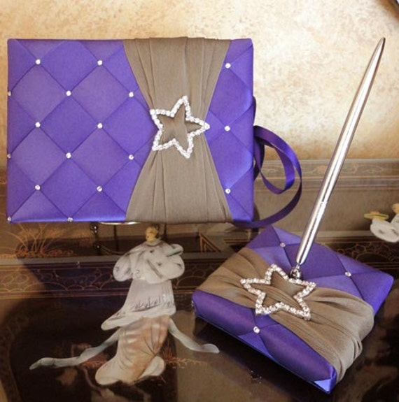Stars Wedding Guest Book and Pen Set with Swarovski Crystals - Custom Made to Order