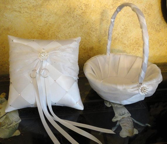 Wedding Flower Girl Basket & Ring Bearer Pillow,  White or Custom Made to your colors with Sash, Swarovski Flowers Crystals