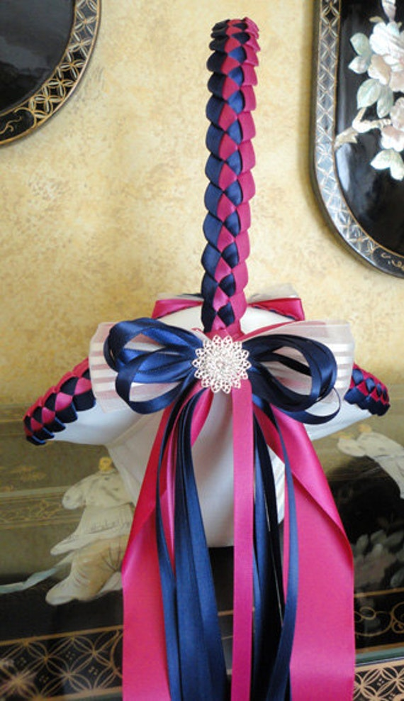 Wedding Flower Girl Basket, Navy Blue Fuchsia White or Custom Made to your Colors Satin Bows and Filigree Swarovski Flowers with Crystals